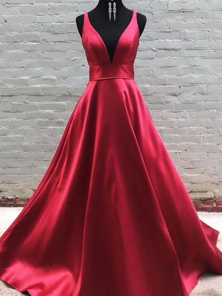 A Line V Neck Burgundy Prom Dresses, V Neck Burgundy Formal Bridesmaid Dresses