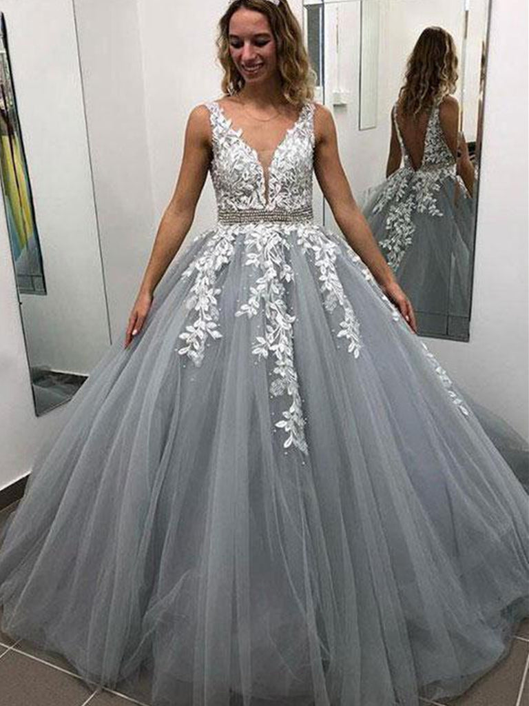 A Line V Neck Floor Length Backless Lace Gray Long Prom Dresses, Lace Gray Formal Dresses, V Neck Lace Gray Evening Dresses