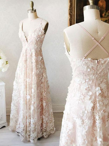 A Line V Neck Floor Length Lace Light Pink Long Prom Dresses, Light Pink Lace Formal Dresses, Evening Dresses 2019