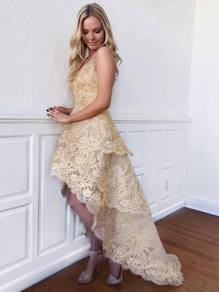 A Line V Neck High Low Golden Lace Prom Dresses, High Low Lace Golden Homecoming Dresses, Golden Lace Formal Dresses, Evening Dresses