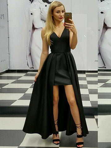 A Line V Neck High Low Ruched Black/Pink Satin Prom Dresses, V Neck Pink/Black Formal Evening Dresses, High Low Graduation Dresses