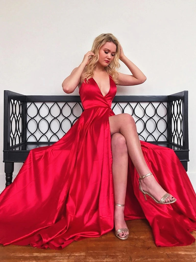 A Line V Neck High Slit Red Satin Long Prom Dresses 2020, V Neck Red Formal Graduation Evening Dresses