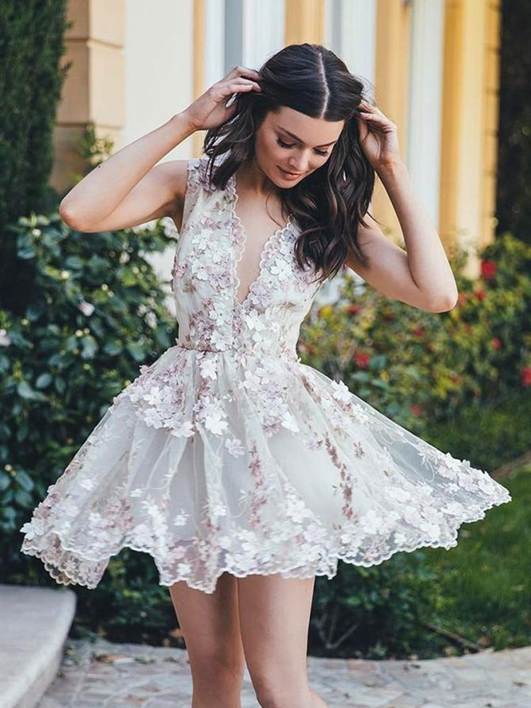 A Line V Neck Lace Appliques Ivory Homecoming Dresses Short Prom Dresses with Flower, Lace Ivory Formal Dresses, Evening Dresses, Graduation Dresses