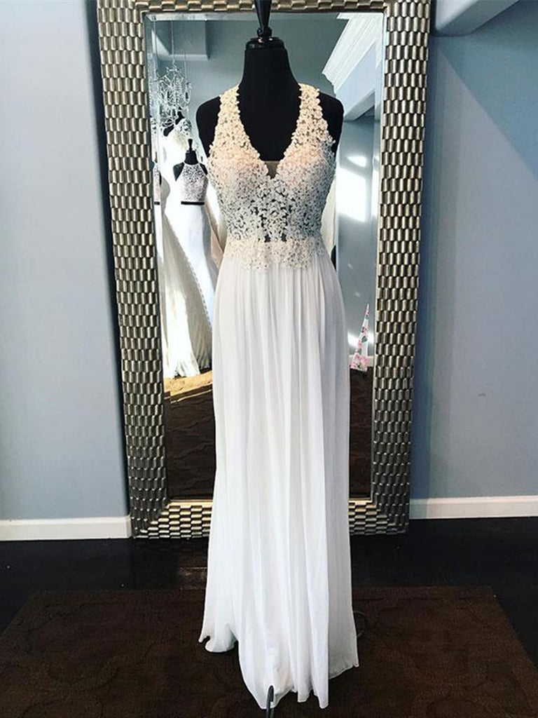 1908785893 ... A Line V Neck Lace Beading White Chiffon Long Prom Dresses, White Lace  Formal Dresses ...