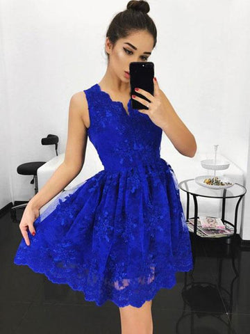 A Line V Neck Lace Blue Prom Dresses, Blue Homecoming Dresses, Short Prom Dresses