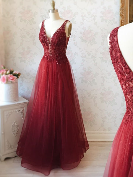 A Line V Neck Lace Burgundy Tulle Long Prom Dresses, V Neck Burgundy Lace Formal Dresses, Burgundy Lace Evening Dresses