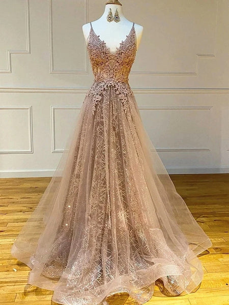 A Line V Neck Lace Champagne Long Prom Dresses, Champagne Lace Formal Graduation Evening Dresses