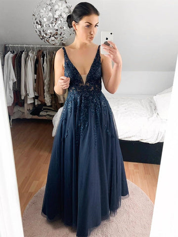 A Line V Neck Lace Navy Blue Long Prom Dresses, Navy Blue Lace Formal Dresses, Navy Blue Evening Dresses