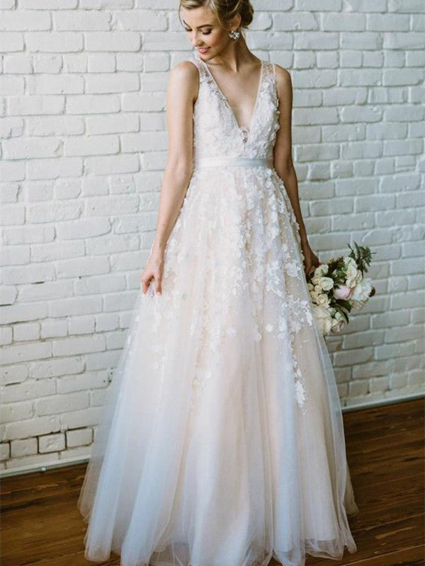 A Line V Neck Lace Tulle Champagne Wedding Dresses, Champagne Lace Prom Dresses, Formal Dresses