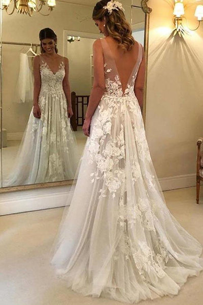 A Line V Neck Lace Appliques White Long Prom Dresses Wedding Dresses, V Neck White Lace Formal Dresses, White Lace Evening Dresses