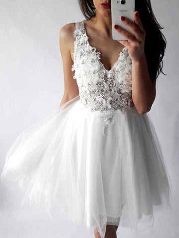 A Line V Neck Lace White Short Prom Dresses, White Homecoming Dresses, Lace Homecoming Dresses
