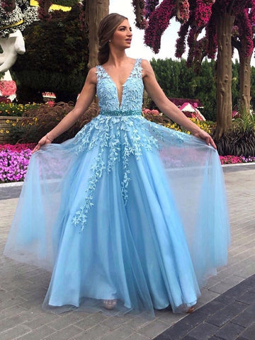 A Line V Neck Light Blue Lace Long Prom Dresses 2020, Light Blue Lace Formal Dresses, Light Blue Evening Dresses