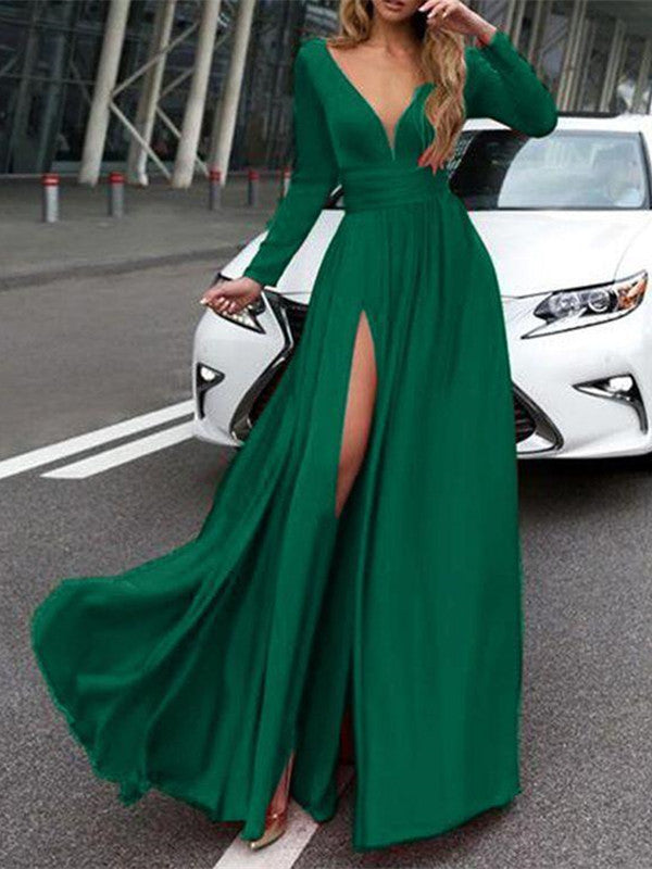 A Line V Neck Long Sleeves Green/Black/Royal Blue Long Prom Dresses, Formal Dresses With Sleeves