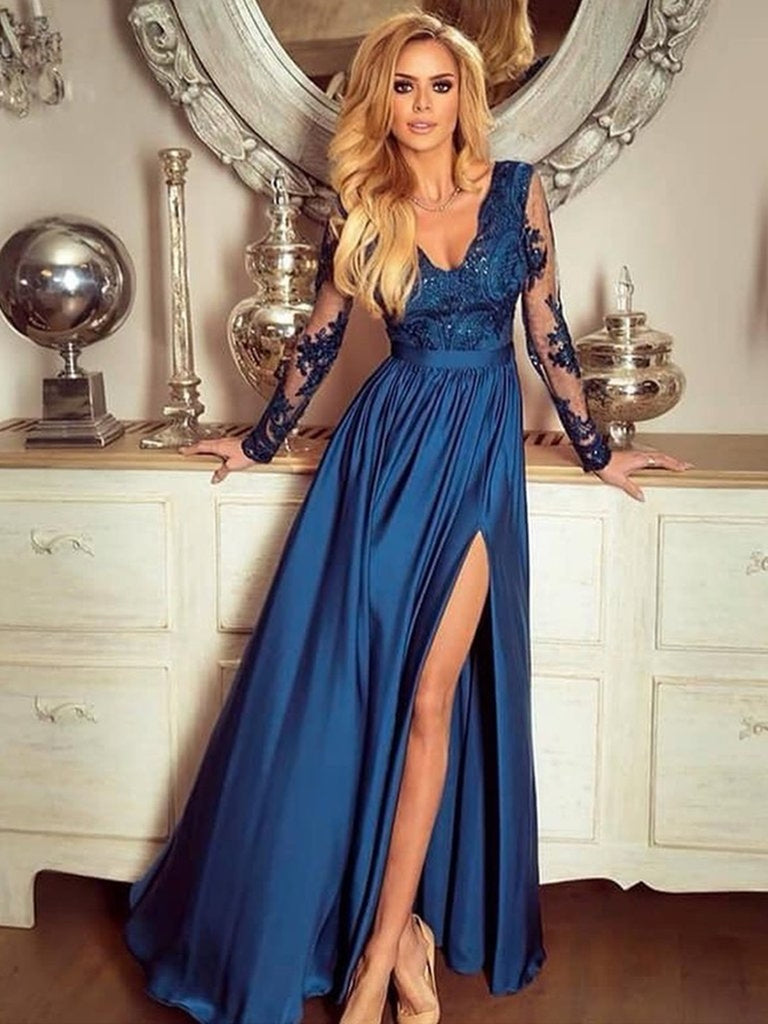 A Line V Neck Long Sleeves Lace Blue Prom Dresses with Side Slit, Long Sleeves Lace Blue Formal Dresses, Long Sleeves Blue Evening Dresses