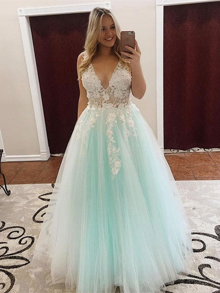 A Line V Neck Long White Lace Appliques Light Green Prom Dresses, V Neck Lace Light Green Formal Dresses, Lace Green Evening Dresses
