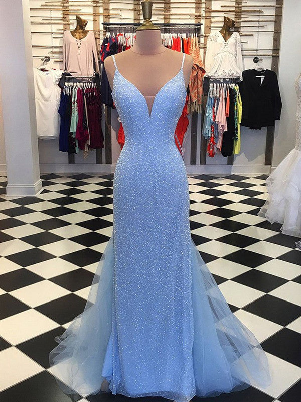 A Line V Neck Mermaid Backless Light Blue Prom Dresses, Light Blue Formal Dresses
