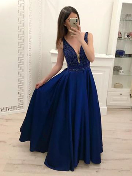 A Line V Neck Navy Blue Satin Long Prom Dresses with Beads, Navy Blue Formal Dresses Graduation Dresses, Evening Dresses