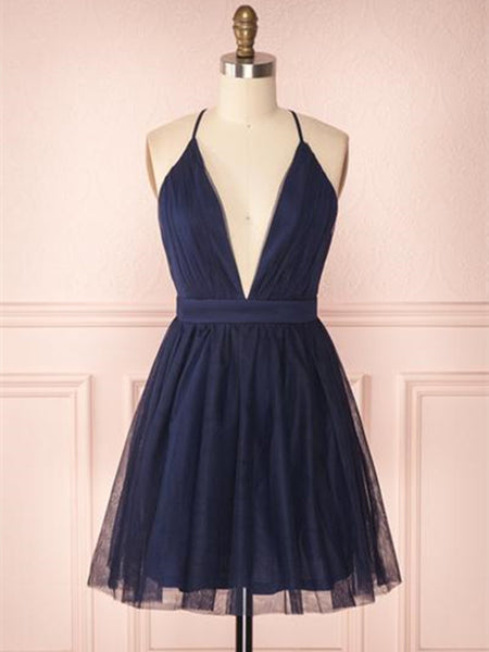 A Line V Neck Navy Blue Short Prom Dresses, Navy Blue Homecoming Dresses