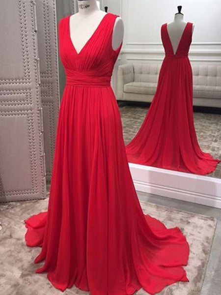 A Line V Neck Open Back Red Chiffon Ruffles Long Prom Dresses, V Neck Backless Red Formal Dresses, Red Evening Dresses