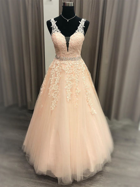 A Line V Neck Pink Lace Long Prom Dresses 2020 with Belt, Pink Lace Formal Graduation Evening Dresses