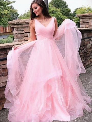 A Line V Neck Pink Long Prom Dresses, V Neck Pink Formal Graduation Dresses