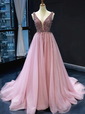 A Line V Neck Pink Prom Dresses with Corset Back, Pink V Neck Formal Bridesmaid Dresses