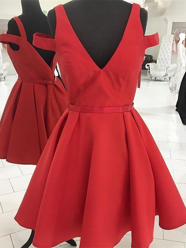 A Line V Neck Red Prom Dresses, Red Homecoming Dresses, Red Short Prom Dresses