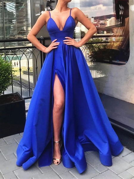 A Line V Neck Royal Blue Prom Dresses, Royal Blue Formal Graduation Evening Dresses