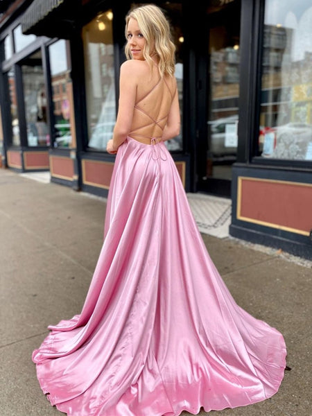A Line V Neck Satin Backless Long Pink Prom Dresses with High Slit, V Neck Backless Pink Formal Dresses with Pocket, Backless Pink Evening Dresses