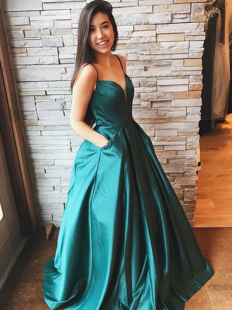 A Line V Neck Satin Long Emerald Green Prom Dresses with Pocket, V Neck Emerald Green Formal Dresses, Emerald Green Evening Dresses, Ball Gown