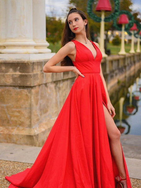 A Line V Neck Satin Long Red Prom Dresses with High Slit, V Neck Red Formal Dresses, Red Evening Dresses