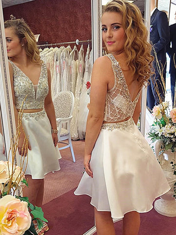A Line V Neck Short 2 Pieces Beaded Prom Dresses, Two Pieces Champagne Beaded Formal Homecoming Dresses