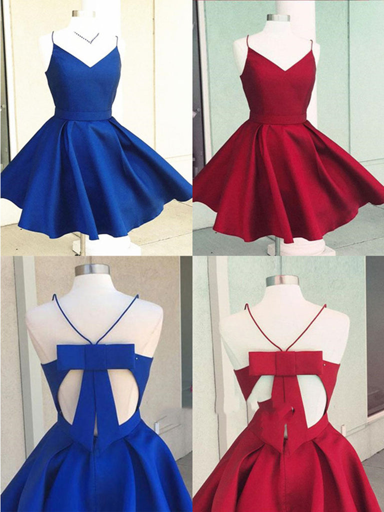A Line V Neck Short Blue/Burgundy Prom Dresses, Mini Graduation Dresses, Blue Homecoming Dresses