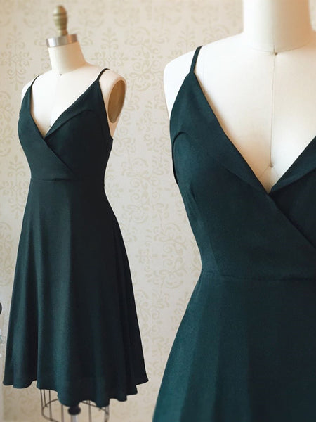 A Line V Neck Short Dark Green Prom Dresses, Short Dark Green Homecoming Formal Dresses