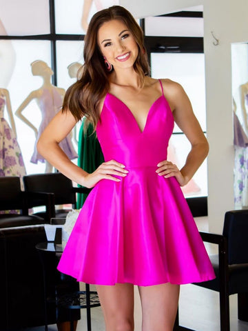 A Line V Neck Short Hot Pink Prom Dresses, Short Hot Pink Formal Graduation Homecoming Dresses
