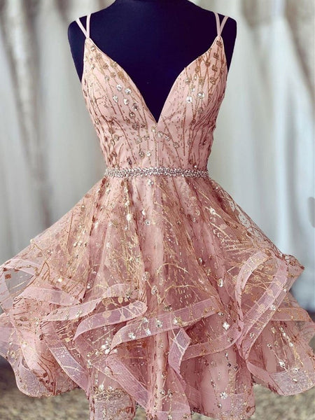A Line V Neck Short Lace Prom Dresses, Cross Back Short Champagne Lace Formal Homecoming Dresses