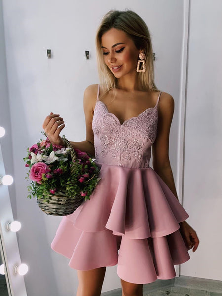 A Line V Neck Short Pink Burgundy Lace Prom Dresses, Short Lace Formal Homecoming Graduation Dresses