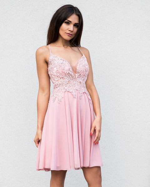 A Line V Neck Short Pink Green Lace Prom Dresses, V Neck Short Lace Prom Dresses