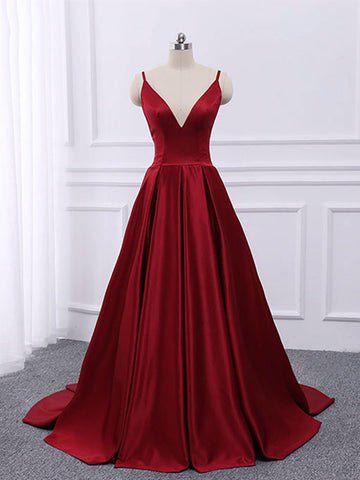 A Line V Neck Spaghetti Straps Backless Burgundy Satin Long Prom Dresses, V Neck Burgundy Formal Dresses, Burgundy Evening Dresses