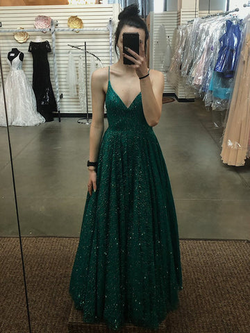 A Line V Neck Spaghetti Straps Backless Dark Green Prom Dresses, Dark Green Formal Dresses, Evening Dresses