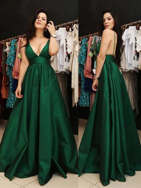 A Line V Neck Spaghetti Straps Backless Satin Dark Green Prom Dresses with Pockets, Dark Green Backless Formal Dresses, Evening Dresses
