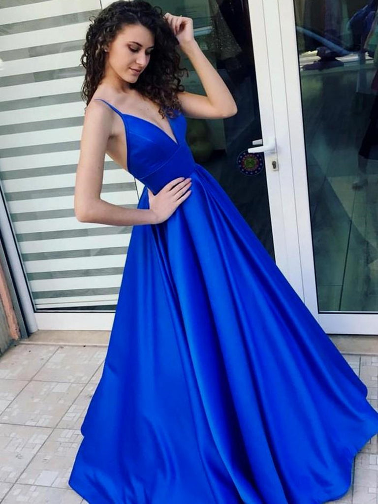 A Line V Neck Spaghetti Straps Backless Satin Royal Blue Long Prom Dresses, Royal Blue Formal Dresses, Evening Dresses