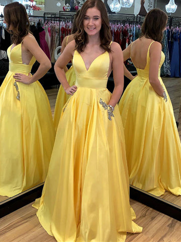 A Line V Neck Spaghetti Straps Backless Satin Yellow Long Prom Dresses with Pocket, Yellow Graduation Dresses, Evening Dresses