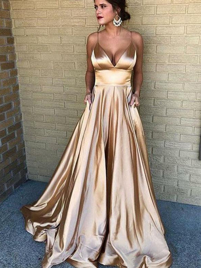 A Line V Neck Spaghetti Straps Champagne Long Prom Dresses, Champagne Formal Dresses, Evening Dresses