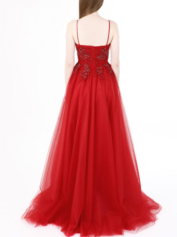 62fc53fcdfd0 ... A Line V Neck Spaghetti Straps Burgundy Lace Long Prom Dresses with  Beadings, Burgundy Formal ...