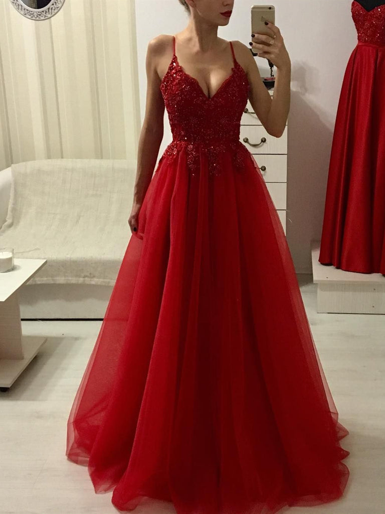 A Line V Neck Spaghetti Straps Burgundy Lace Long Prom Dresses with Beadings, Burgundy Formal Dresses, Evening Dresses