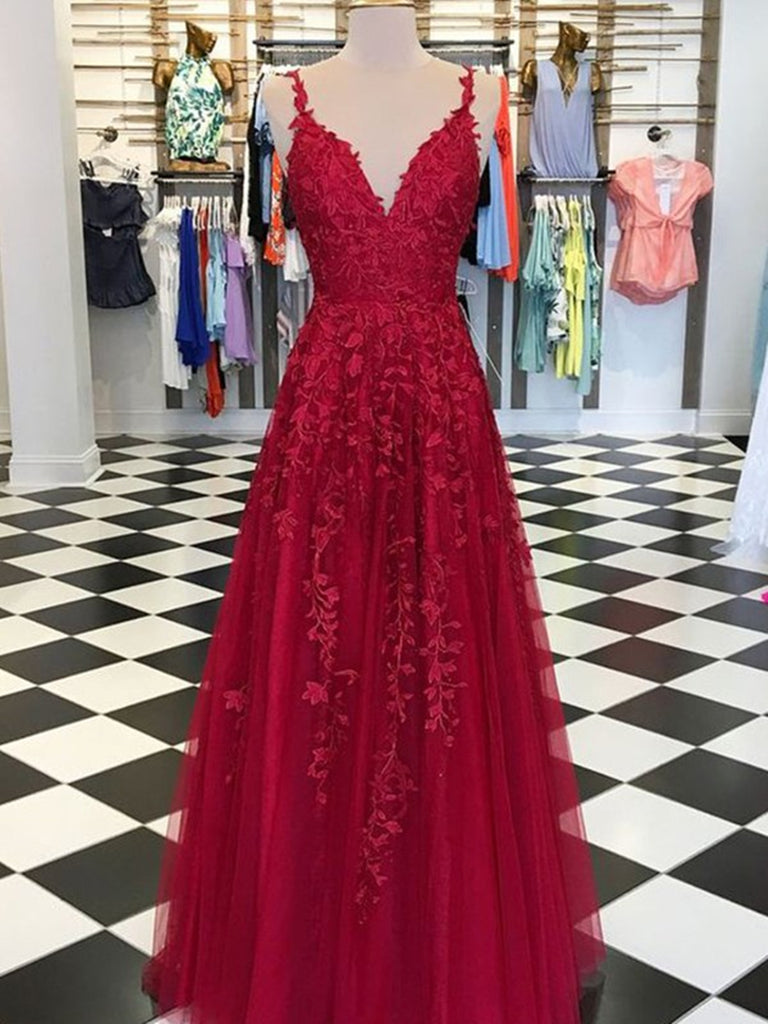 A Line V Neck Spaghetti Straps Floor Length Backless Burgundy/Red Lace Long Prom Dresses, Lace Burgundy/Red Formal Dresses