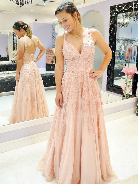A Line V Neck Spaghetti Straps Lace Appliques Pink Prom Dresses, V Neck Lace Pink Formal Dresses, Pink Evening Dresses