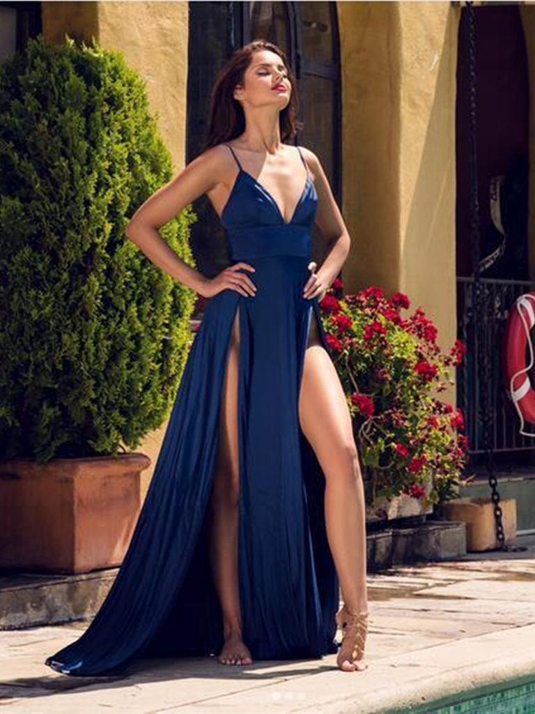 13485981565ae A Line V Neck Spaghetti Straps Navy Blue Prom Dresses with High Slit, –  Shiny Party