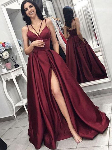 A Line V Neck Spaghetti Straps Satin Burgundy Prom Dresses with Pockets, Burgundy Formal Dresses with Slit, Evening Dresses